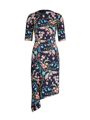 Printed Cady Drape Dress in Flower Field Navy