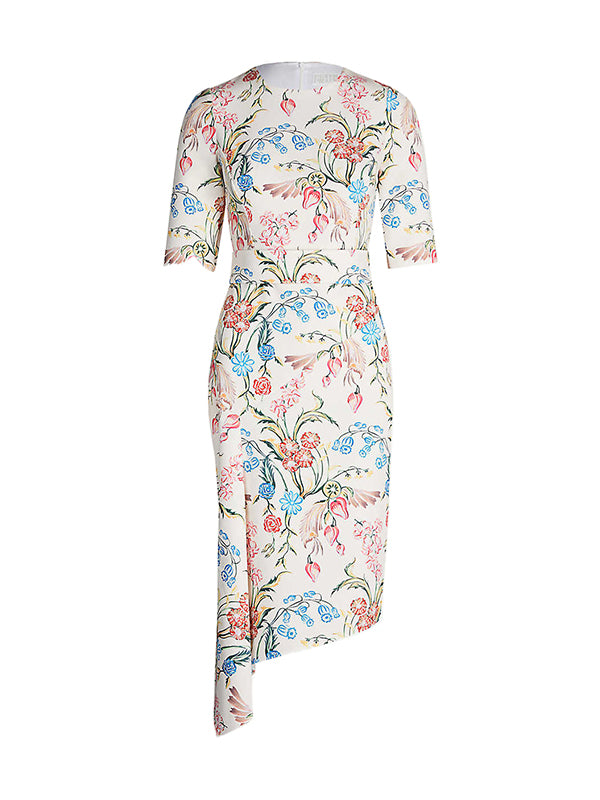 Peter Pilotto Printed Cady Drape Dress in Flower Field Powder White
