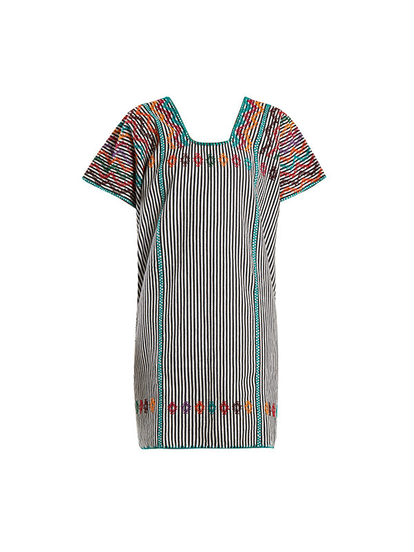 Pippa Holt No.74 Embroided Mini Kaftan | Three panel mini kaftan in black/white stripe with multi coloured design