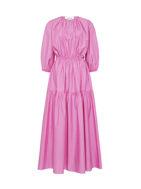 Matteau Tiered Crew Dress in Mauve