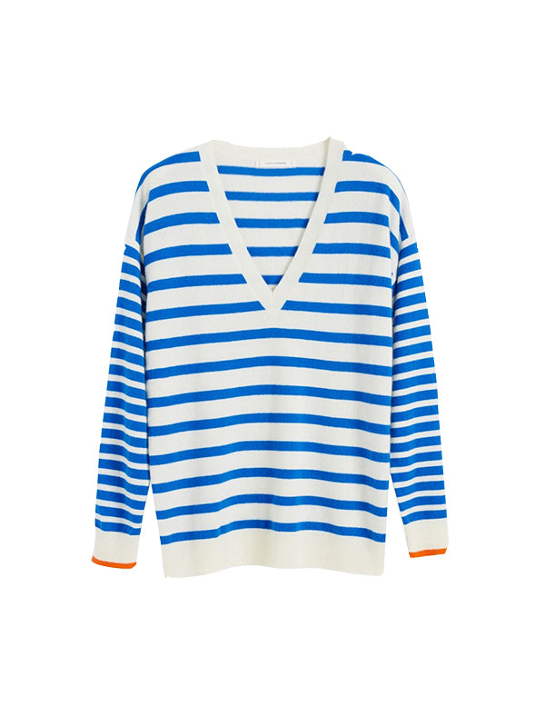 Stripe V Neck Boat Sweater