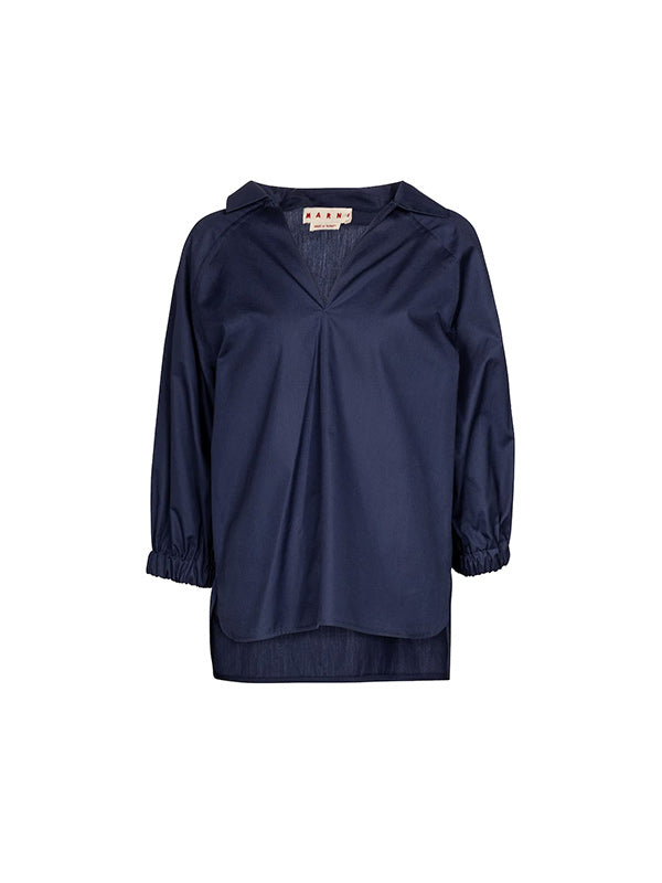 Marni Cotton Poplin V Neck Blouse in Cornflower