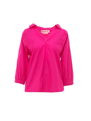 Cotton Poplin V Neck Blouse in Raspberry
