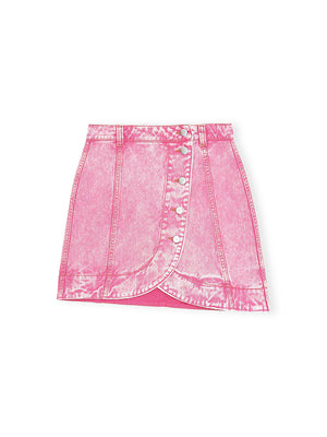 Denim Mini Skirt In Fuchsia Red
