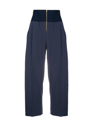 RIBBED ZIPPER TROUSER IN NIGHT BLUE