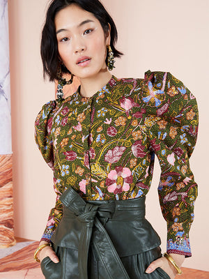 Willa Blouse in Pine Floral