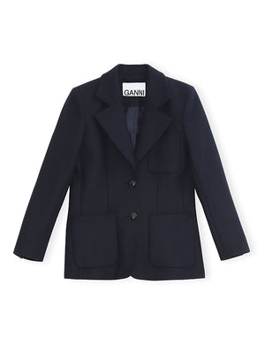 Wool Blazer in Sky Captain
