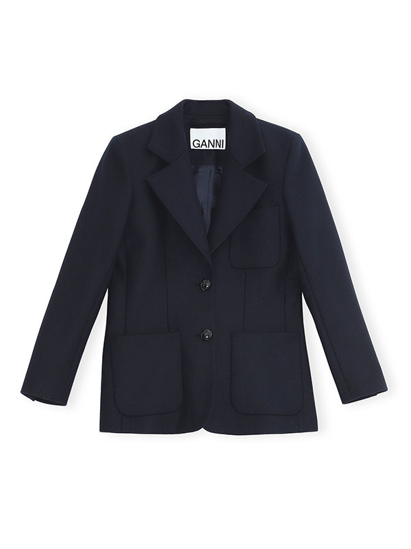 Ganni Wool Blazer in Sky Captain
