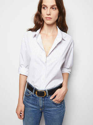 Nili Lotan Yorke Shirt in Blue/White Stripe