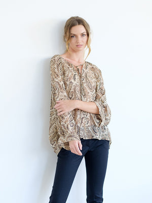 Acadia Blouse in Black/Beige Paisley
