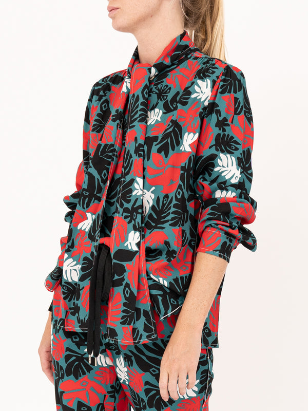 Long Sleeve Blouse in Sable Eyed Leaves