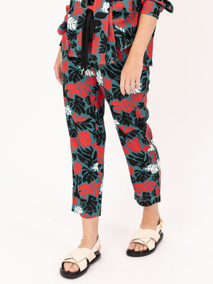 Marni Pull on Trouser in Sable Eyed Leaves