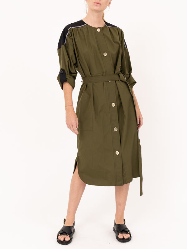 Long Sleeve Cotton Poplin Dress in Dark Olive