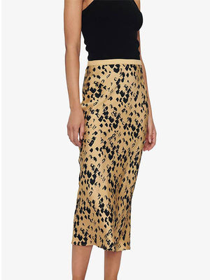 Anine Bing Bar Silk Skirt in Painterly Leo