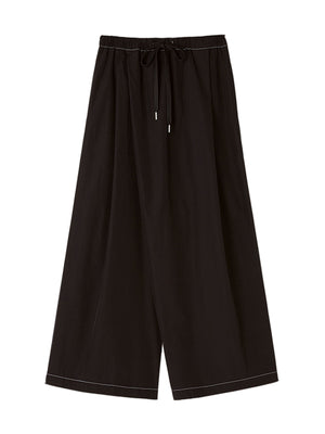 Cotton Poplin Wide Leg Trouser in Black