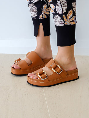 Frieda - Platform Double Buckle Slide in Cognac