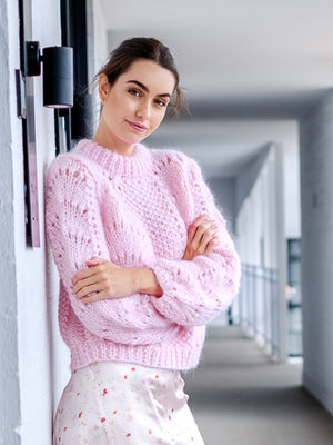 Hand Knit Wool Pullover In Mary Rose