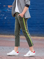 CROPPED JENNA PANT W/PINK AND GREEN TAPE