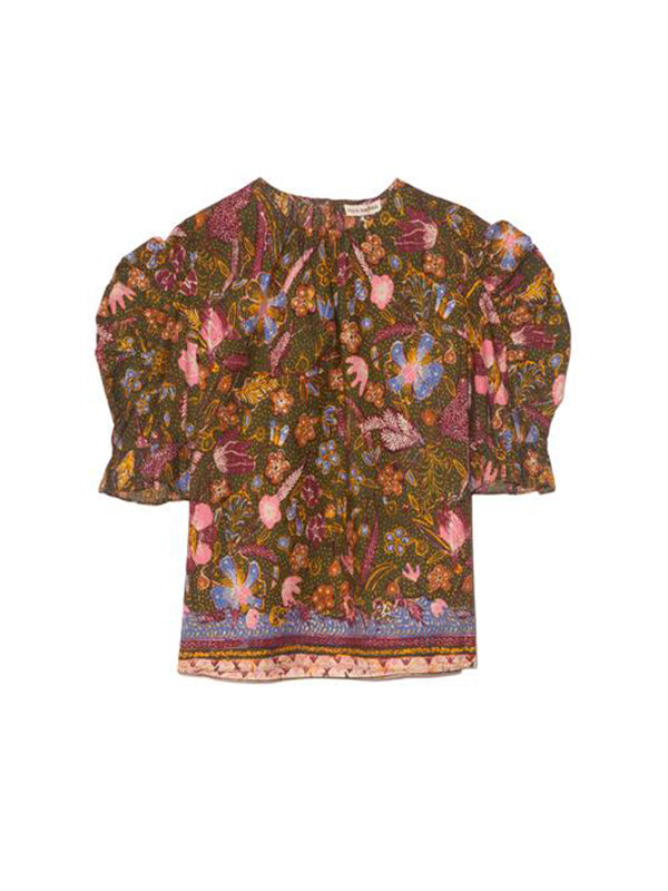 Ulla Johnson Joni Blouse in Pine Floral