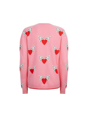 ALL OVER JULIET HEART SWEATER IN BON BON