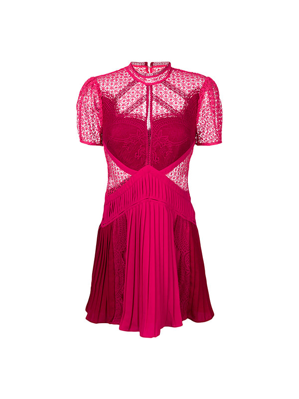 RED BERRY PANELLED LACE DRESS