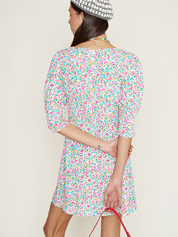 Rixo Larissa Dress in Summer Ditsy