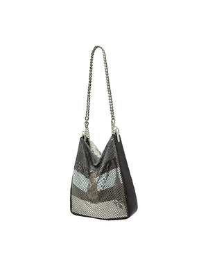 Leandra Disco Bag IN Silver Stripes