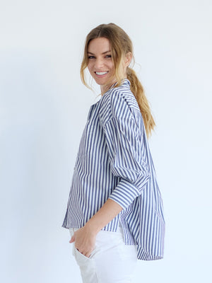 Lonnie Shirt in Dark Navy Stripe