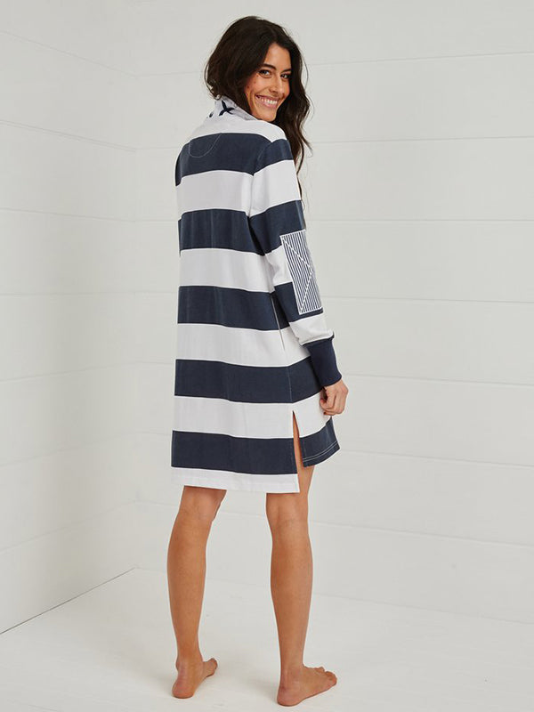 Binny For Love Or Money Rugby Dress in Navy Stripe