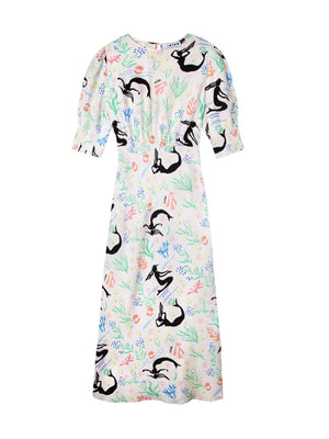 Lucile Dress in Sea Life White Multi