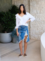 Off-Shoulder Combo Shirt In Blue/White