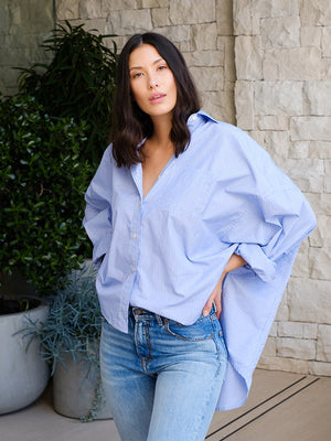 Oversized Shirt In Blue Stripe