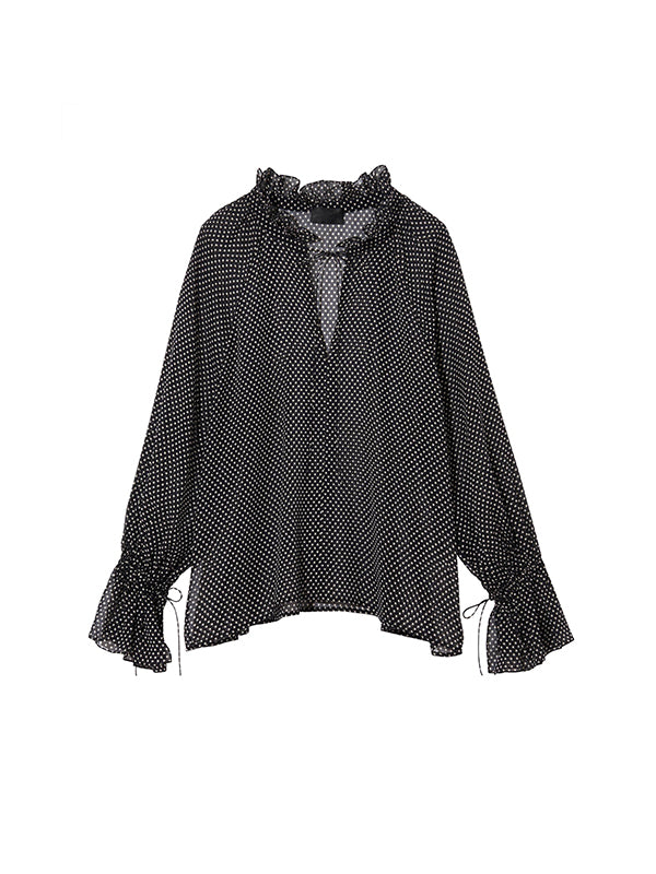 Royan Blouse in Black/Ivory Dots
