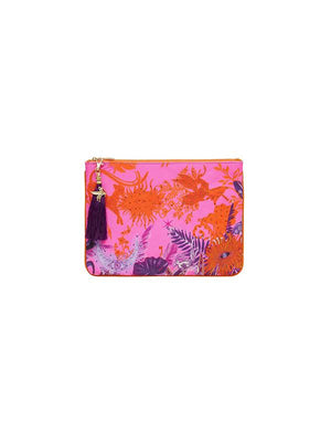 Small Canvas Clutch in tropic of Neon