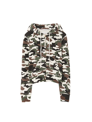 Callie Zip up Hoodie in White Camouflage