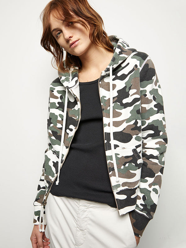 Nili Lotan Callie Zip up Hoodie in White Camouflage