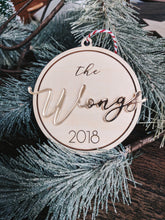 Load image into Gallery viewer, Personalized Family Name Christmas Ornament
