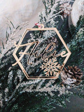 Load image into Gallery viewer, Hexagon Snowflake Personalized Ornament