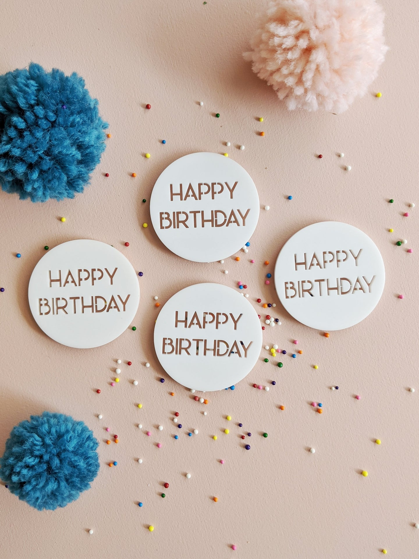 Happy Birthday - Round Dessert Charm