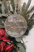 Load image into Gallery viewer, Mr & Mrs Personalized Christmas Ornament