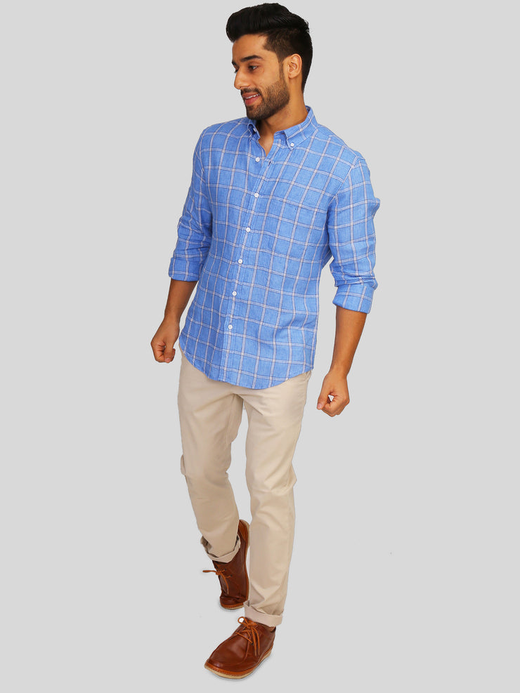 Super Blue Linen Check