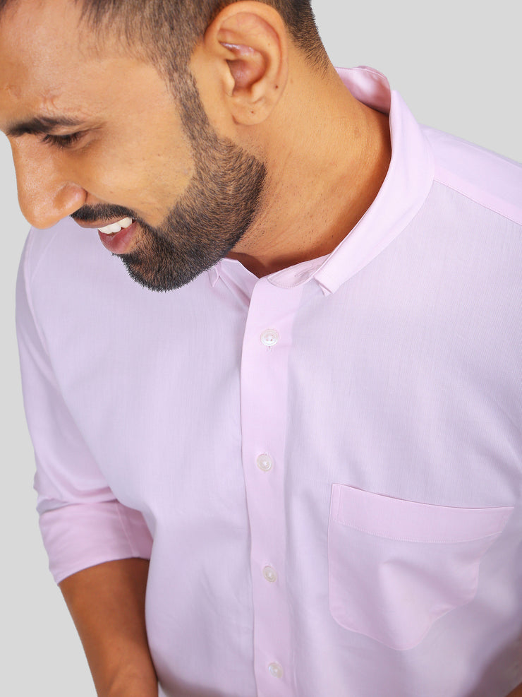 Pink Narrow Dobby Formal Shirt