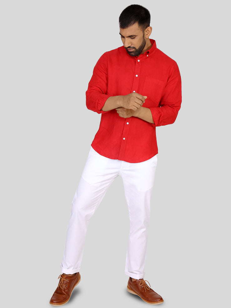 Solid Red Linen