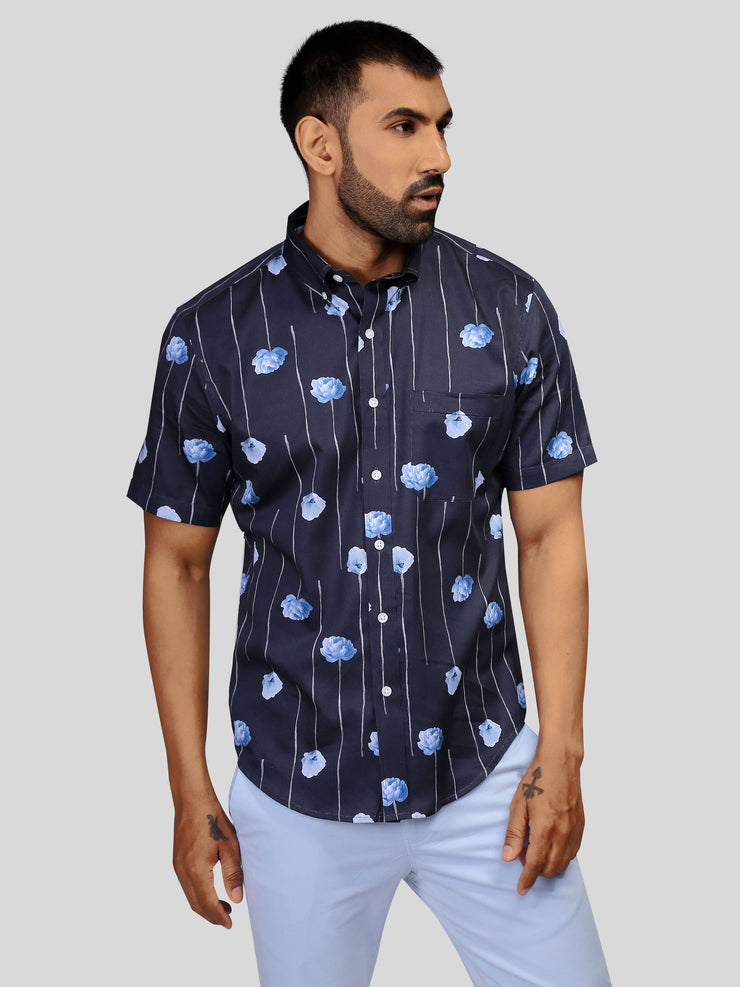 Navy Cloud Print