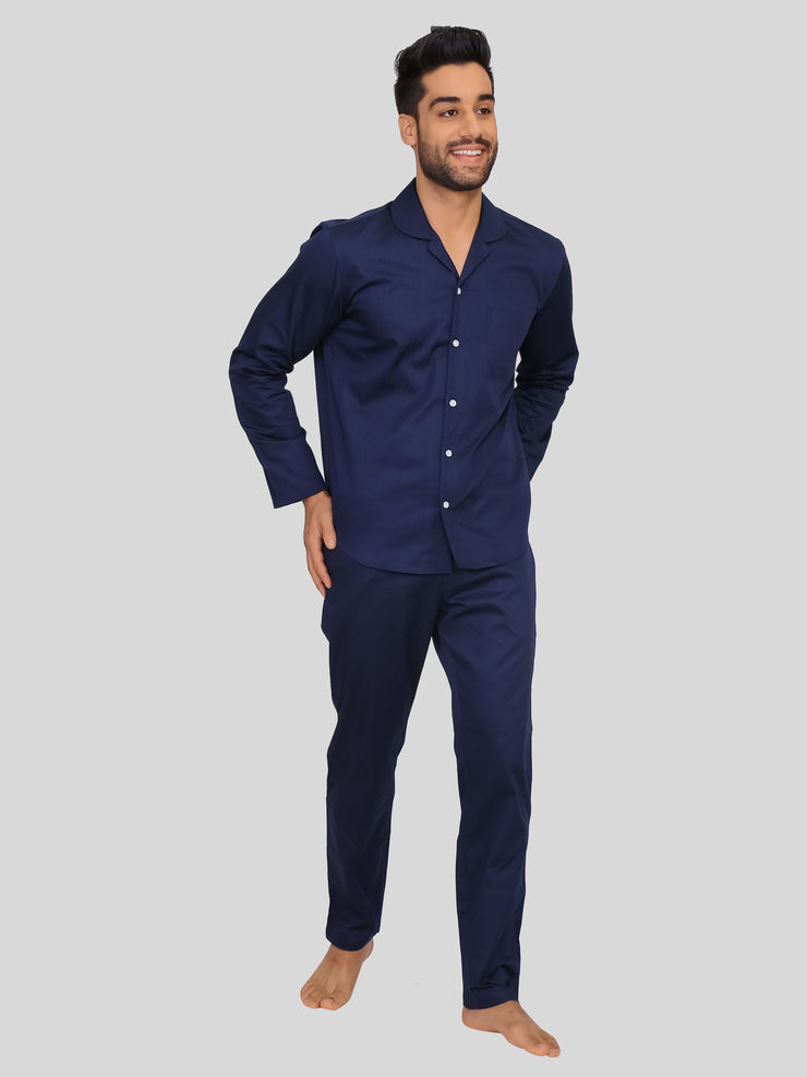 Navy Satin Pyjama Set