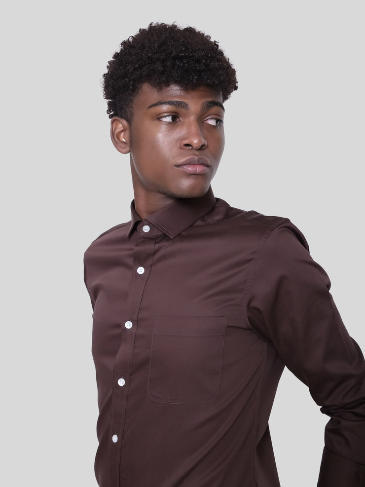 Brown Satin Shirt