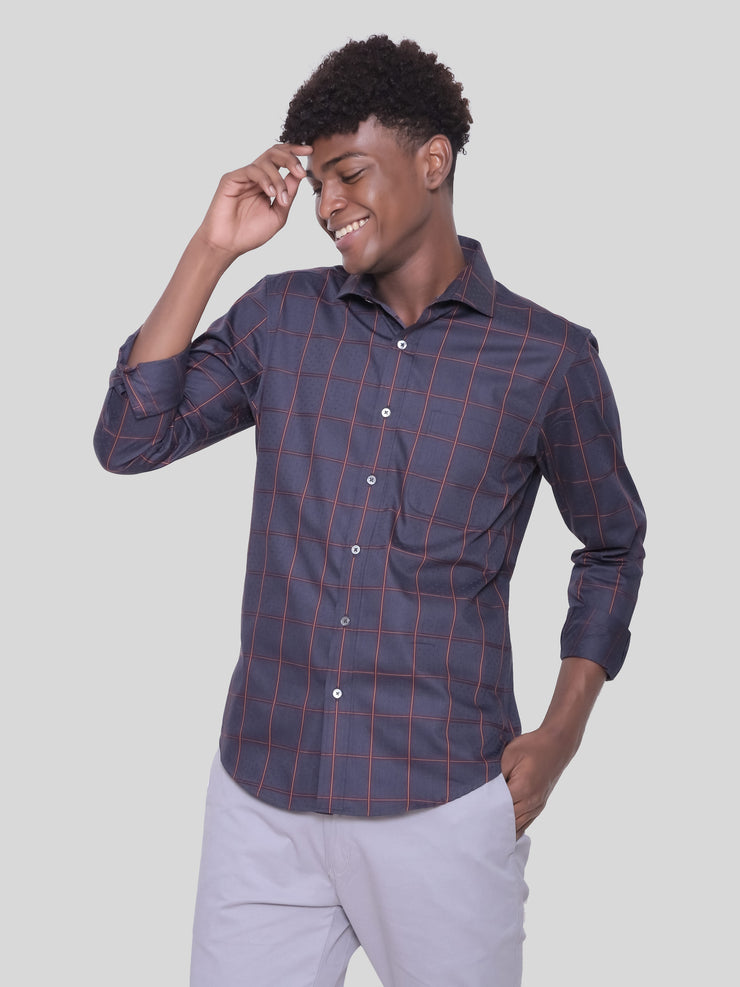 Grey Red Check Shirt