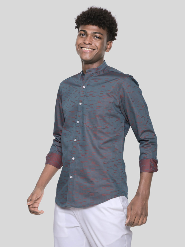 Linear Abstract Mandarin Shirt