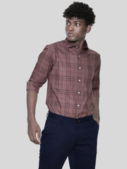 Coffee Brown Check Shirt