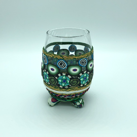 Stemless Adorned Wine Glass
